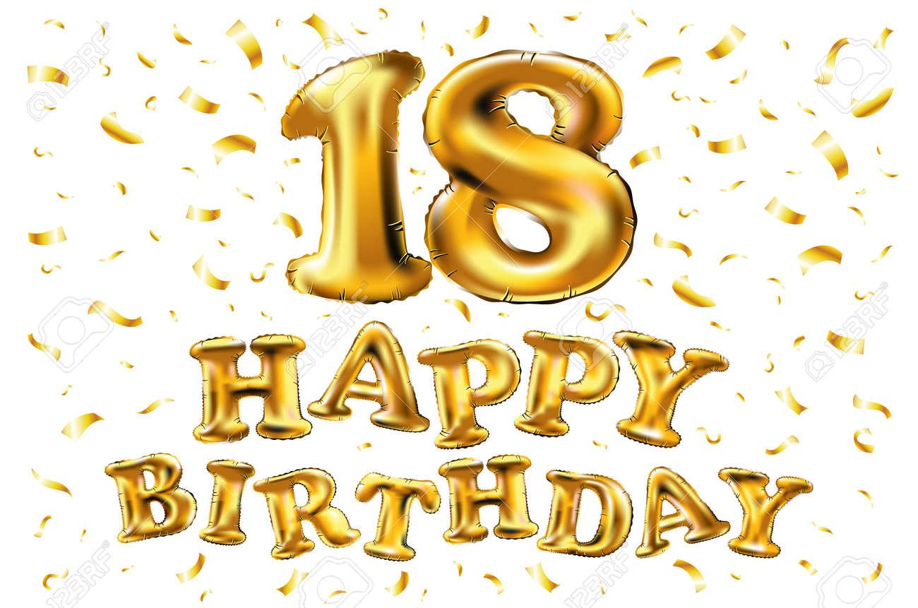 18 Cumpleaños Con Globos Dorados Y Confeti De Colores Brilla El Diseño Del Ejemplo 3d Para Su Tarjeta De Felicitación Invitación Del Cumpleaños Y