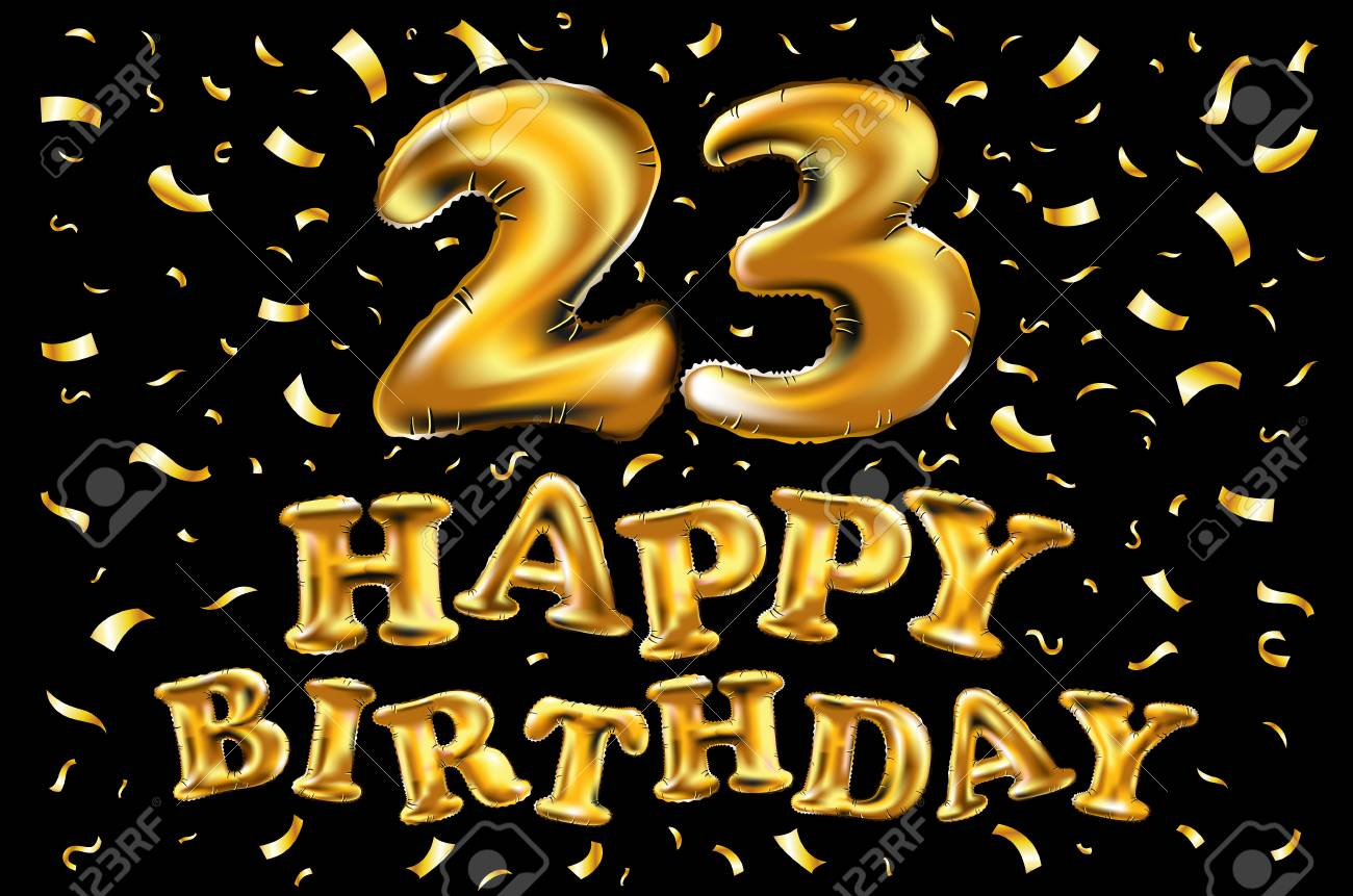Vector Happy Birthday 23rd Celebration With Gold Balloons And