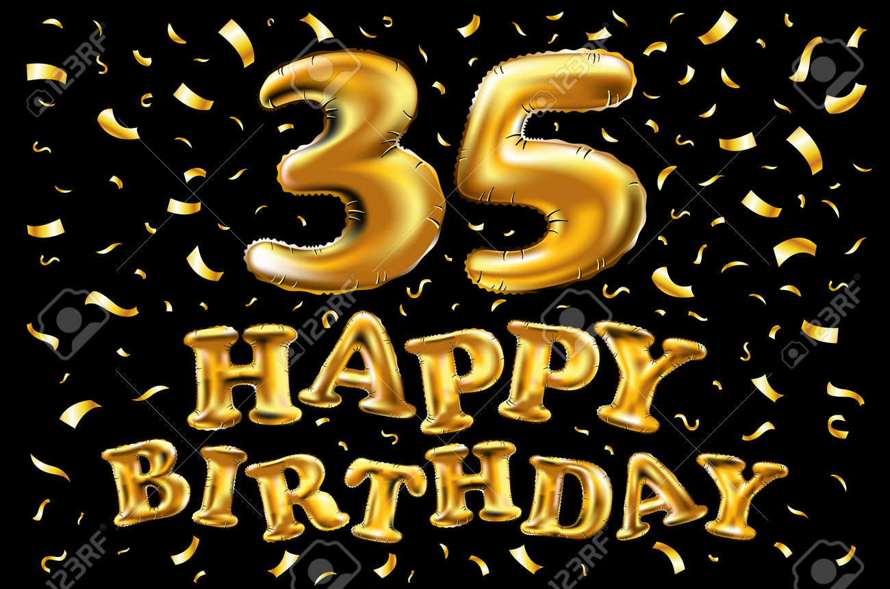 Vector Happy Birthday 35th Celebration Gold Balloons And Golden