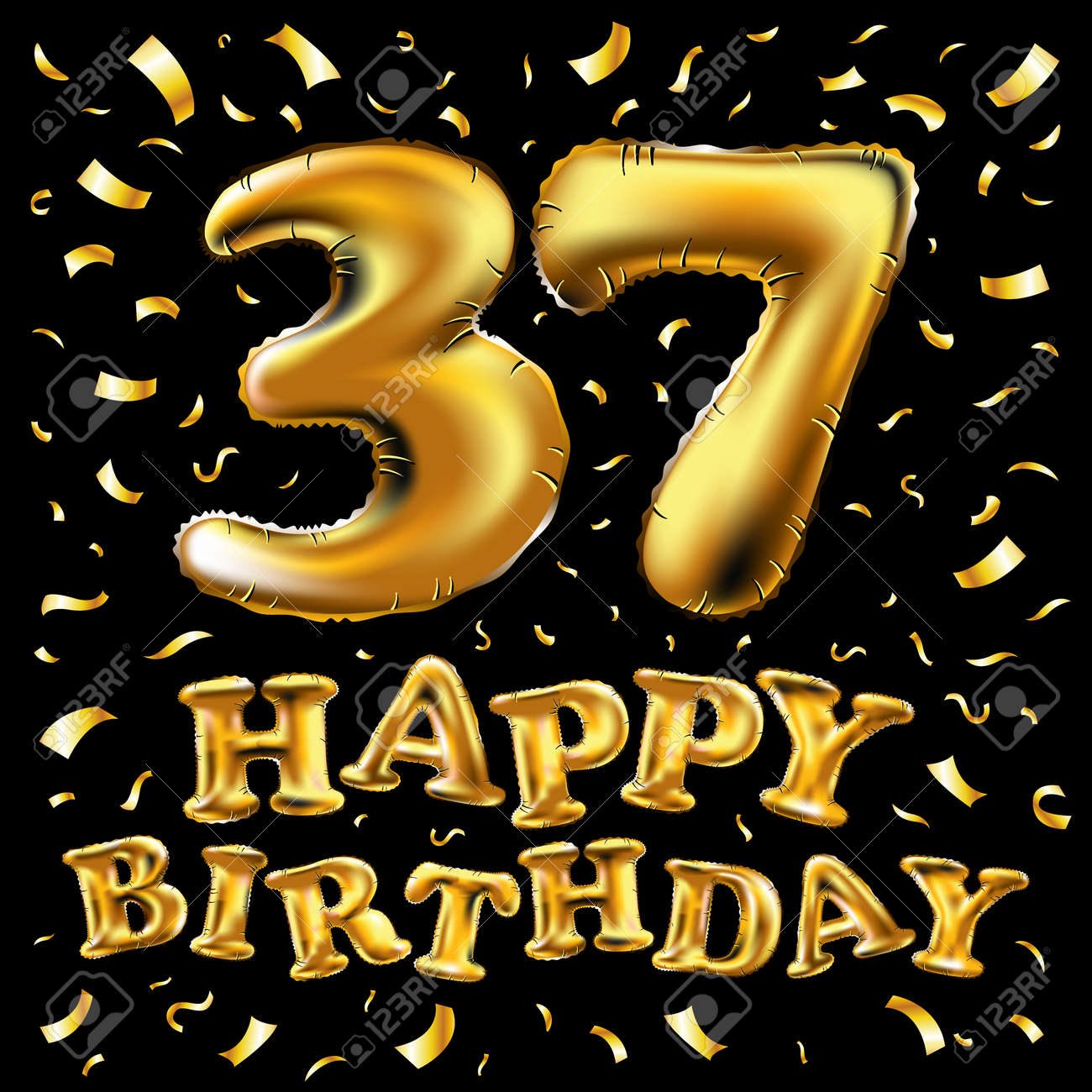 Vector Happy Birthday 37th Celebration Gold Balloons And Golden