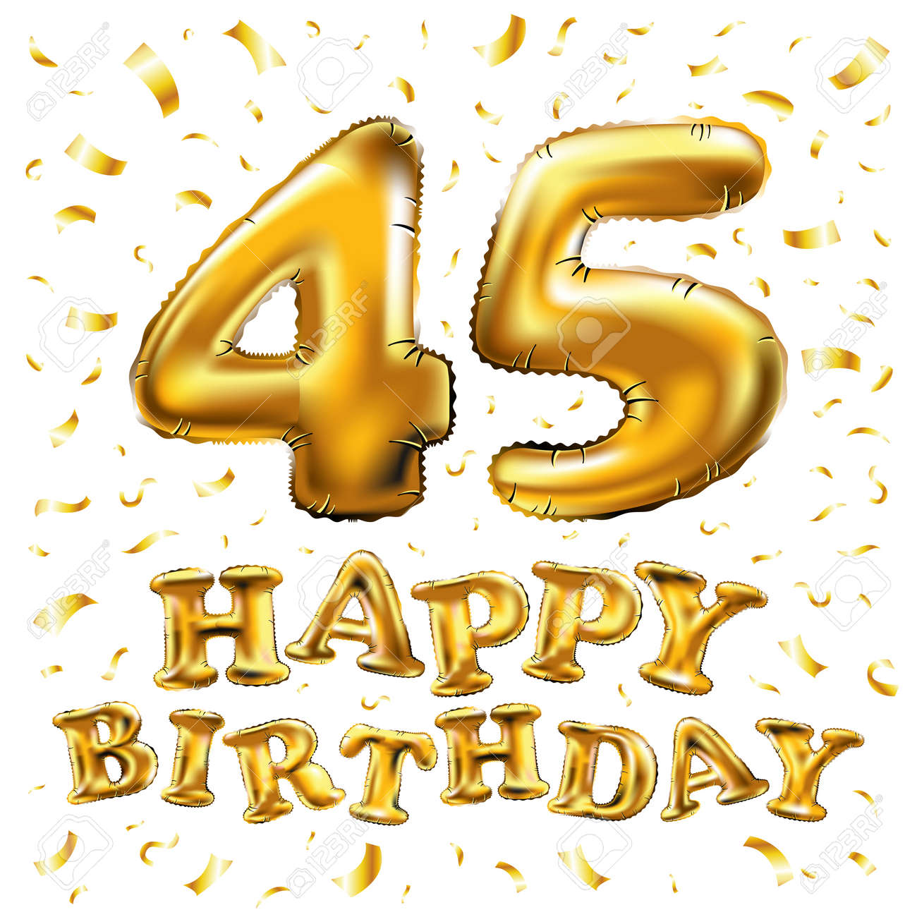 Vector Happy Birthday 45th Celebration Gold Balloons And Golden