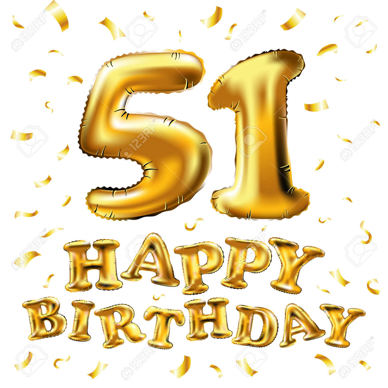 Vector Happy Birthday 51st Celebration Gold Balloons And Golden.. Royalty  Free Cliparts, Vectors, And Stock Illustration. Image 95975836.