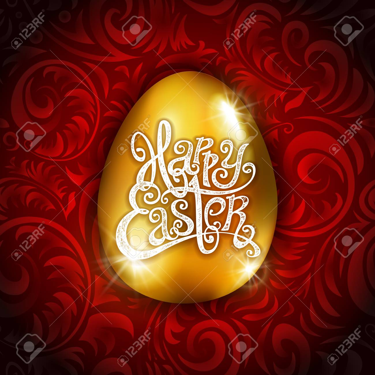 Vector Gold Foil Happy Easter Greeting Golden Egg Card Red