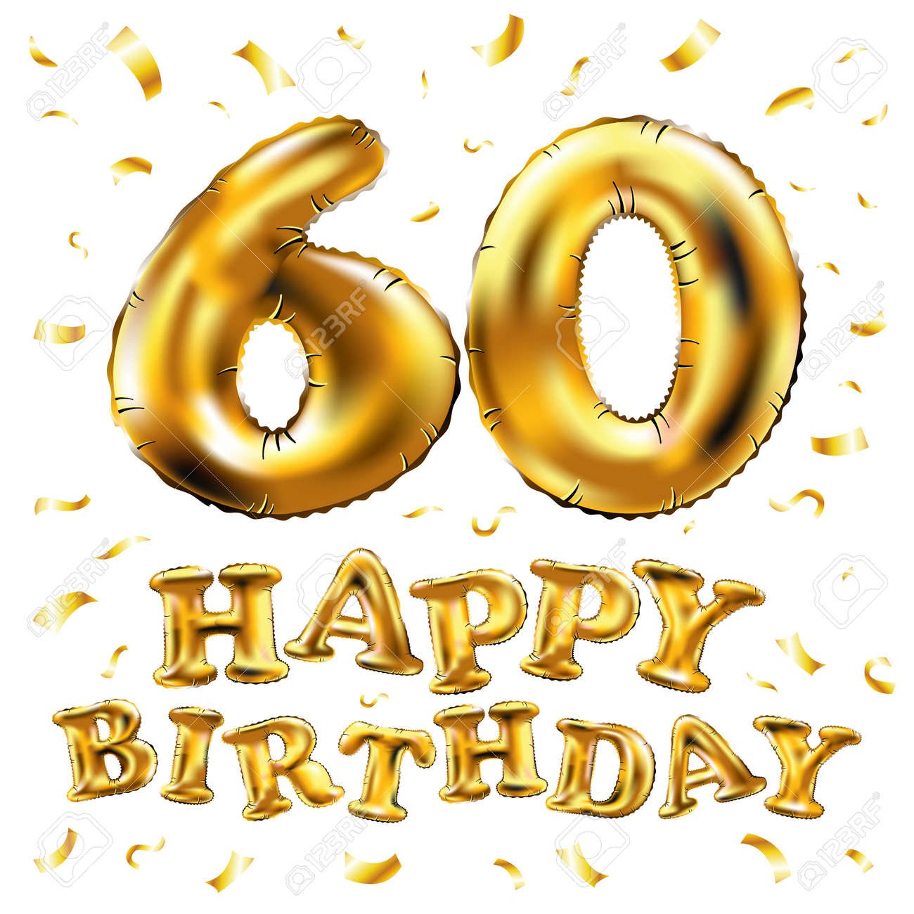 Vector Happy Birthday 60th Celebration Gold Balloons And Golden