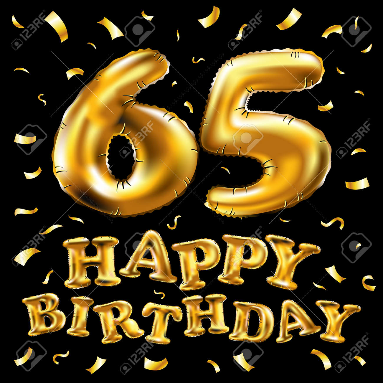 Vector Happy Birthday 65th Celebration Gold Balloons And Golden.. Royalty  Free Cliparts, Vectors, And Stock Illustration. Image 97873656.