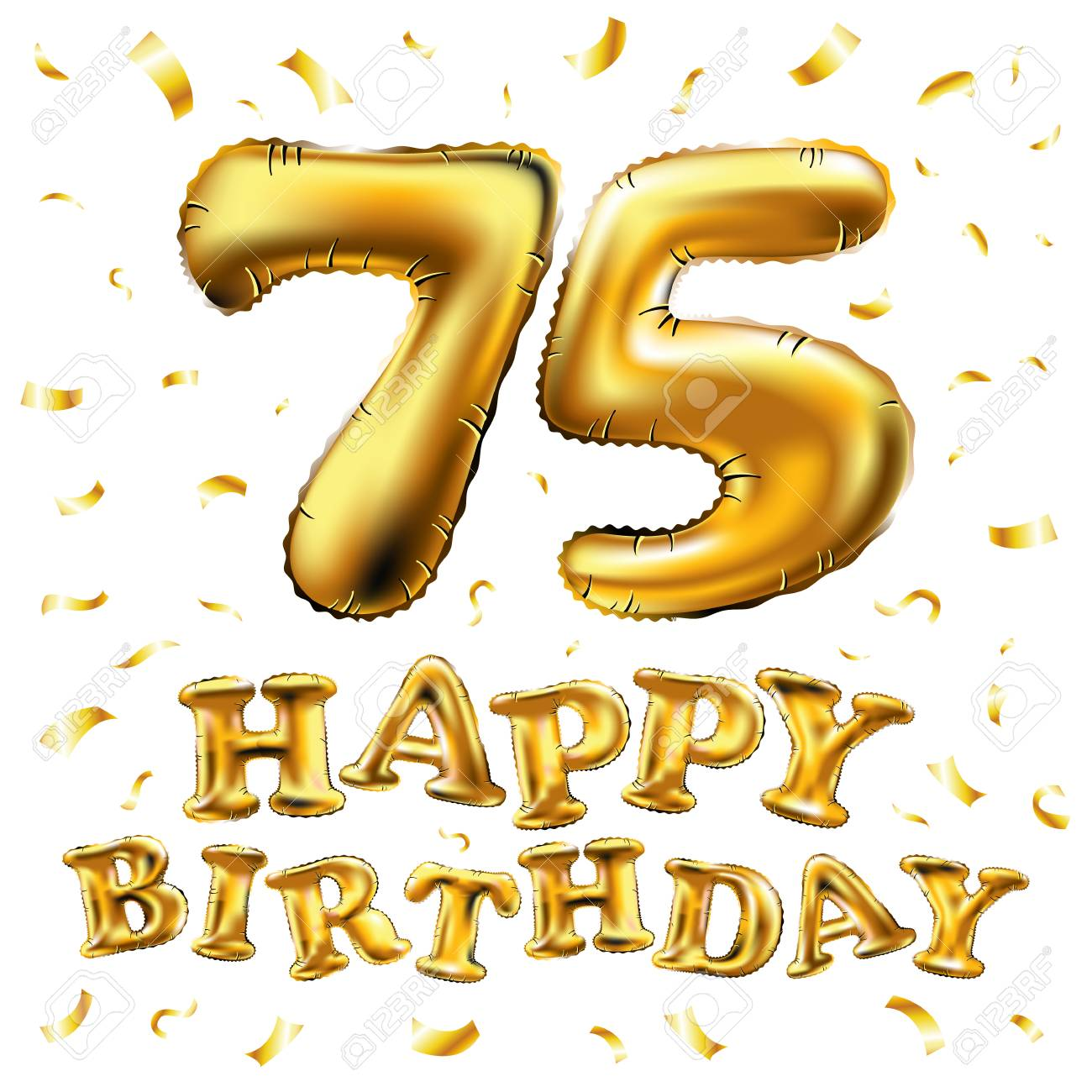 Vector Happy Birthday 75th Celebration Gold Balloons And Golden
