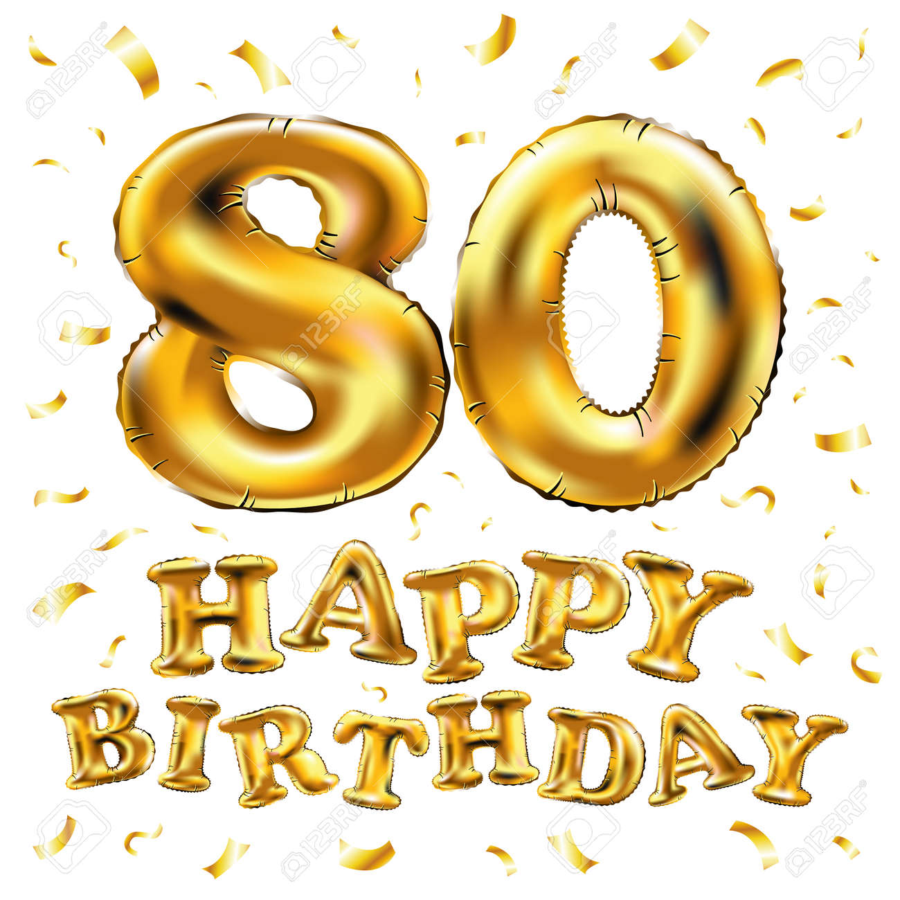 Vector Happy Birthday 80th Celebration Gold Balloons And Golden