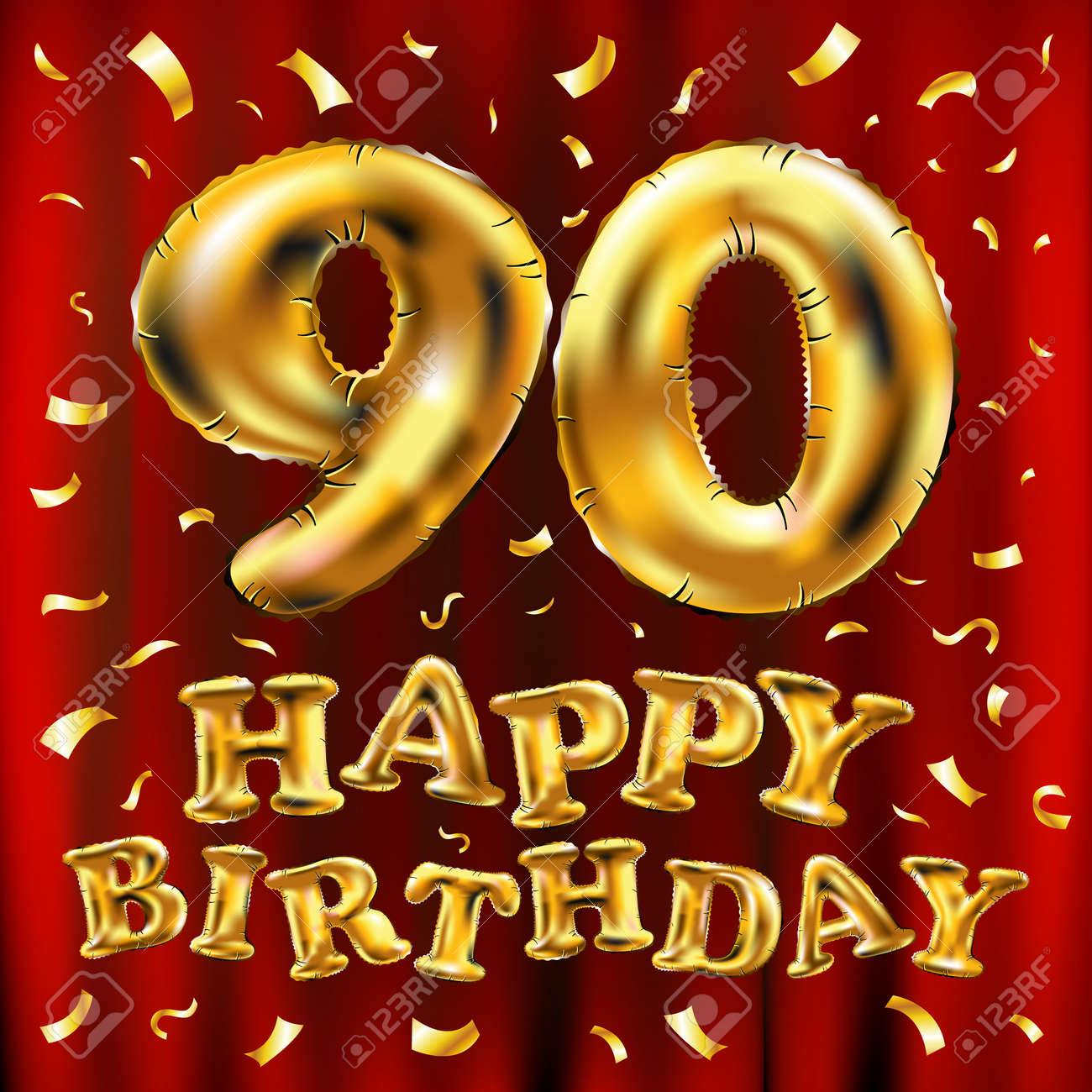Happy Birthday 90th Celebration Gold Balloons And Golden Confetti ...