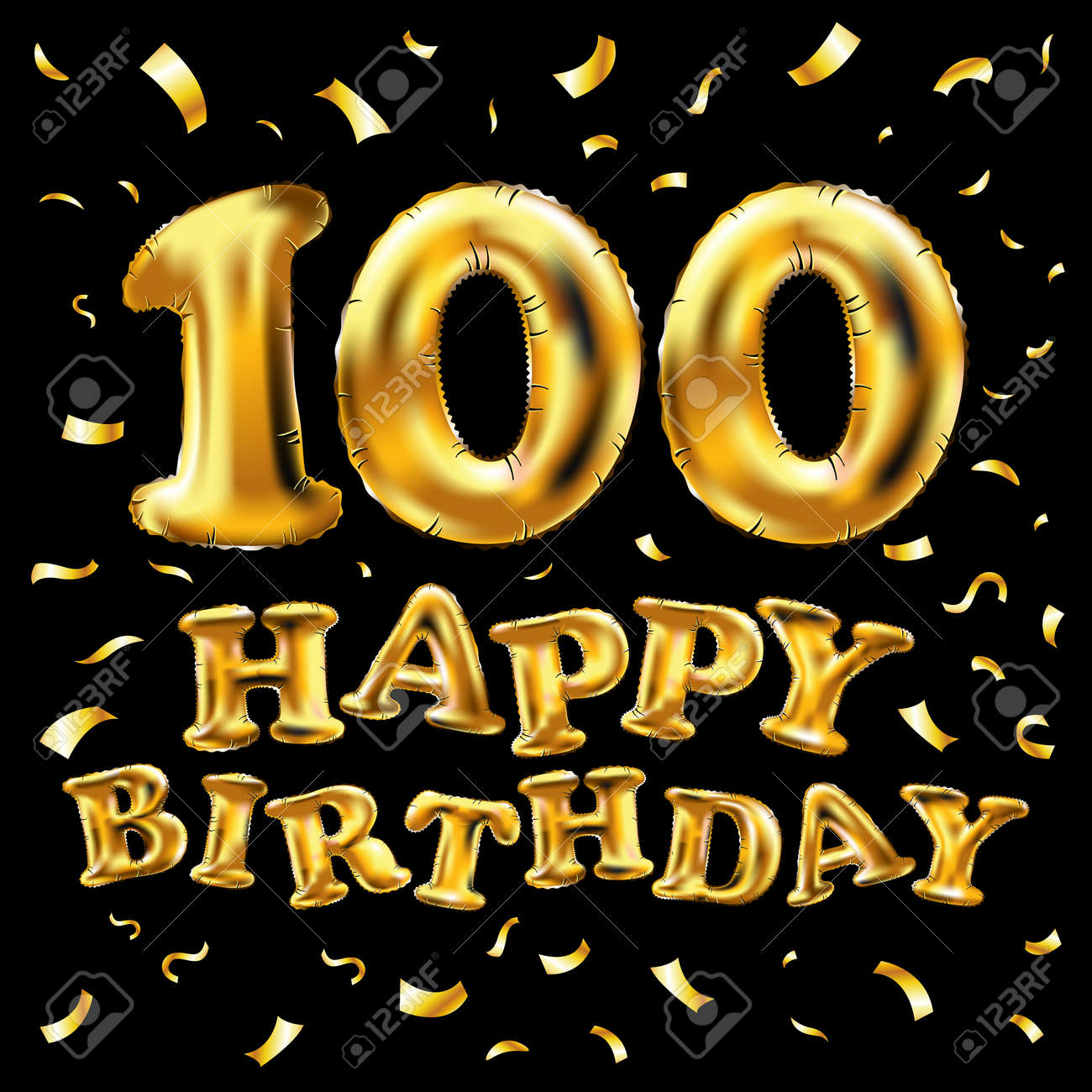 Happy 100th Birthday Celebration Banner With Gold Balloons And Golden Confetti Glitters 3d Illustration Design