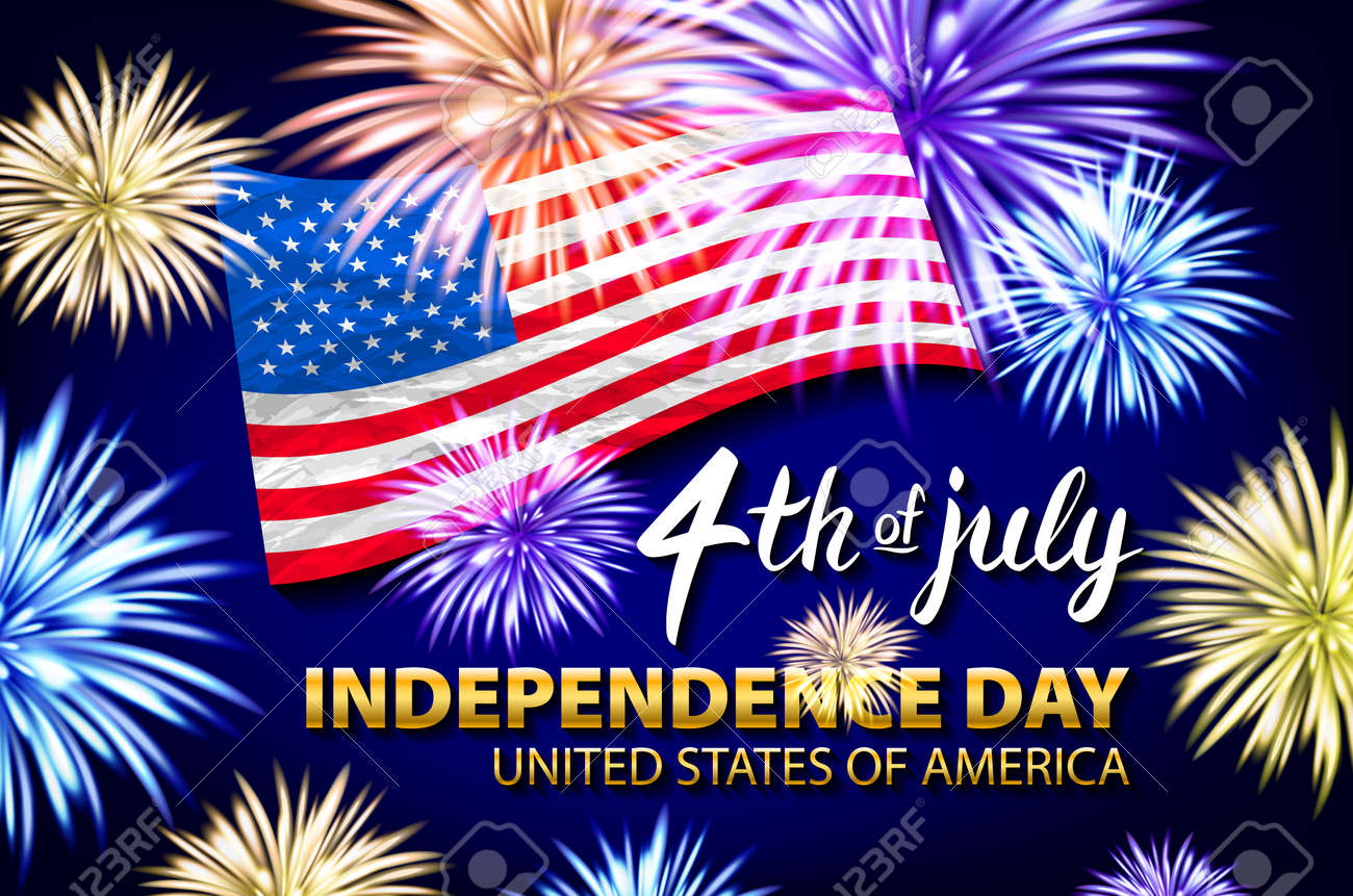 Celebrating the 4th of July, Independence Day fireworks vector art - 103790247