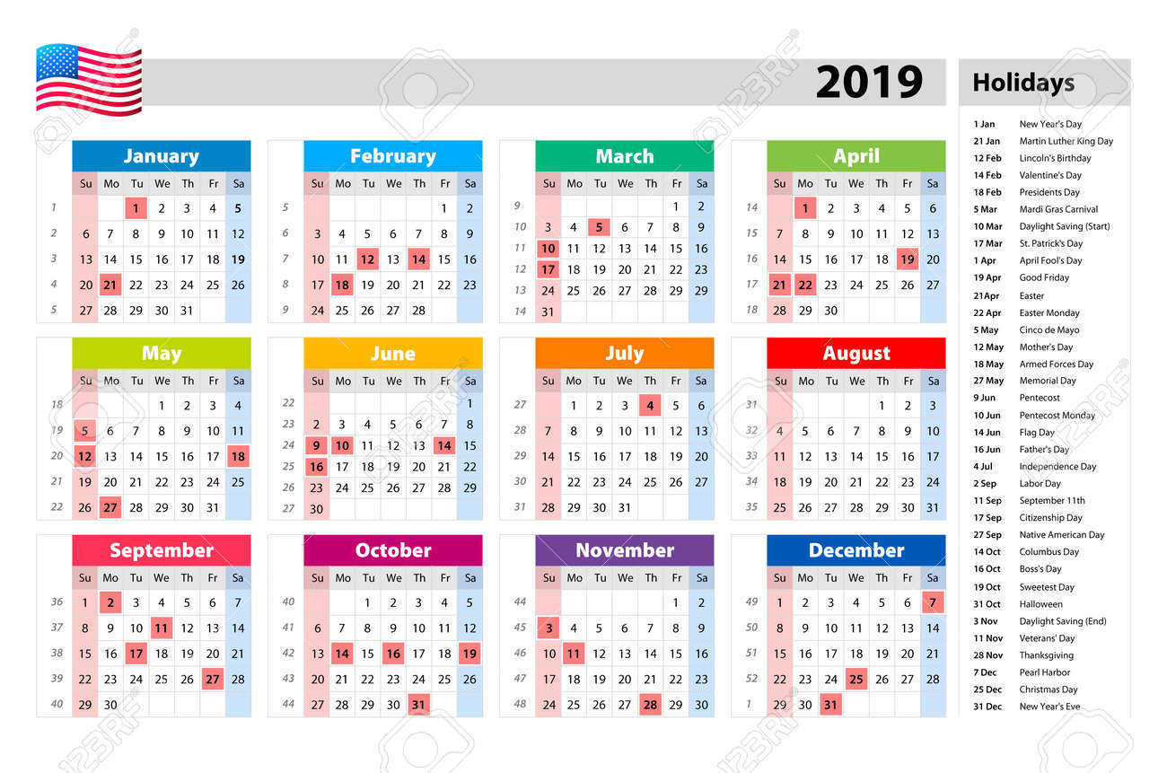 Vector Public Holidays For The Usa Calendar 2019 Colorful Set