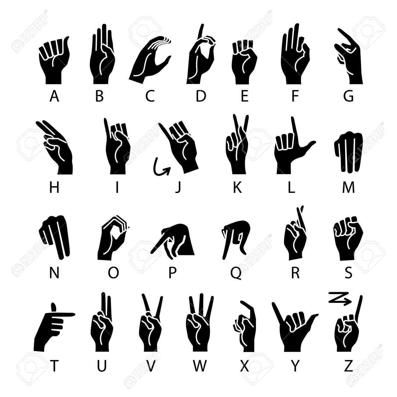 vector language of deaf-mutes hand. American Sign Language ASL Alphabet art - 106517256