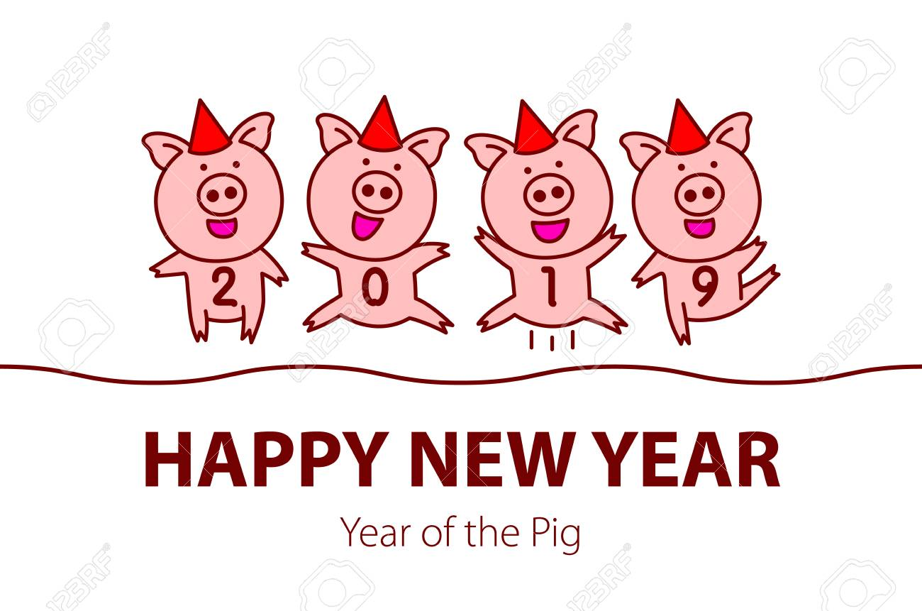 Cute Funny Pink Pig Happy New Year Chinese Symbol Of The 2019