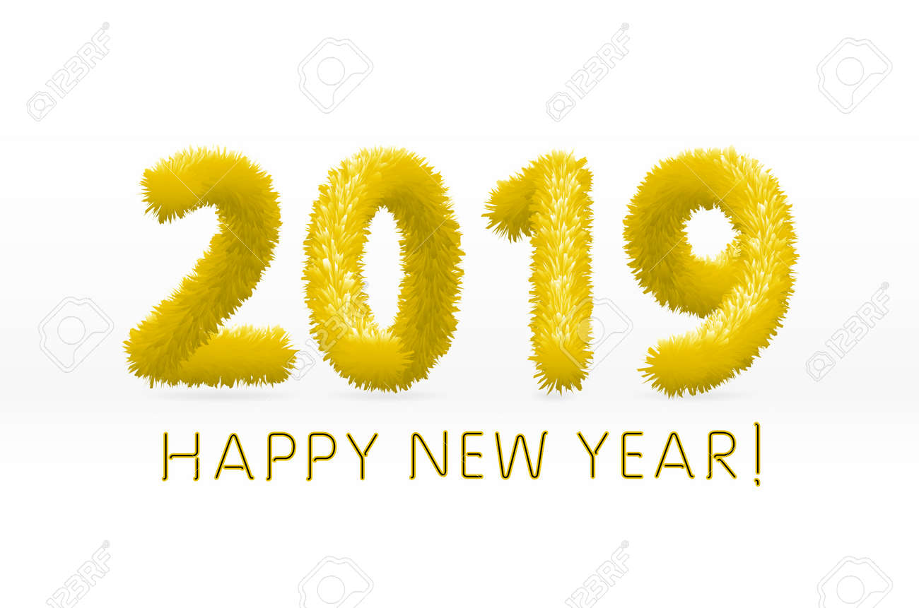 vector wooly yellow hairy shaggy wool 2019 happy new year white background vector illustration art
