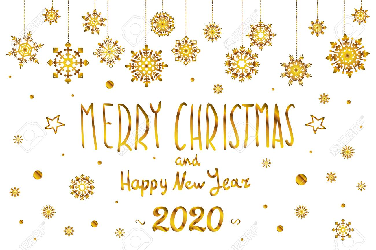 Merry Christmas And Happy 2020 Gold Merry Christmas And Happy New Year 2020 Year Snowflakes