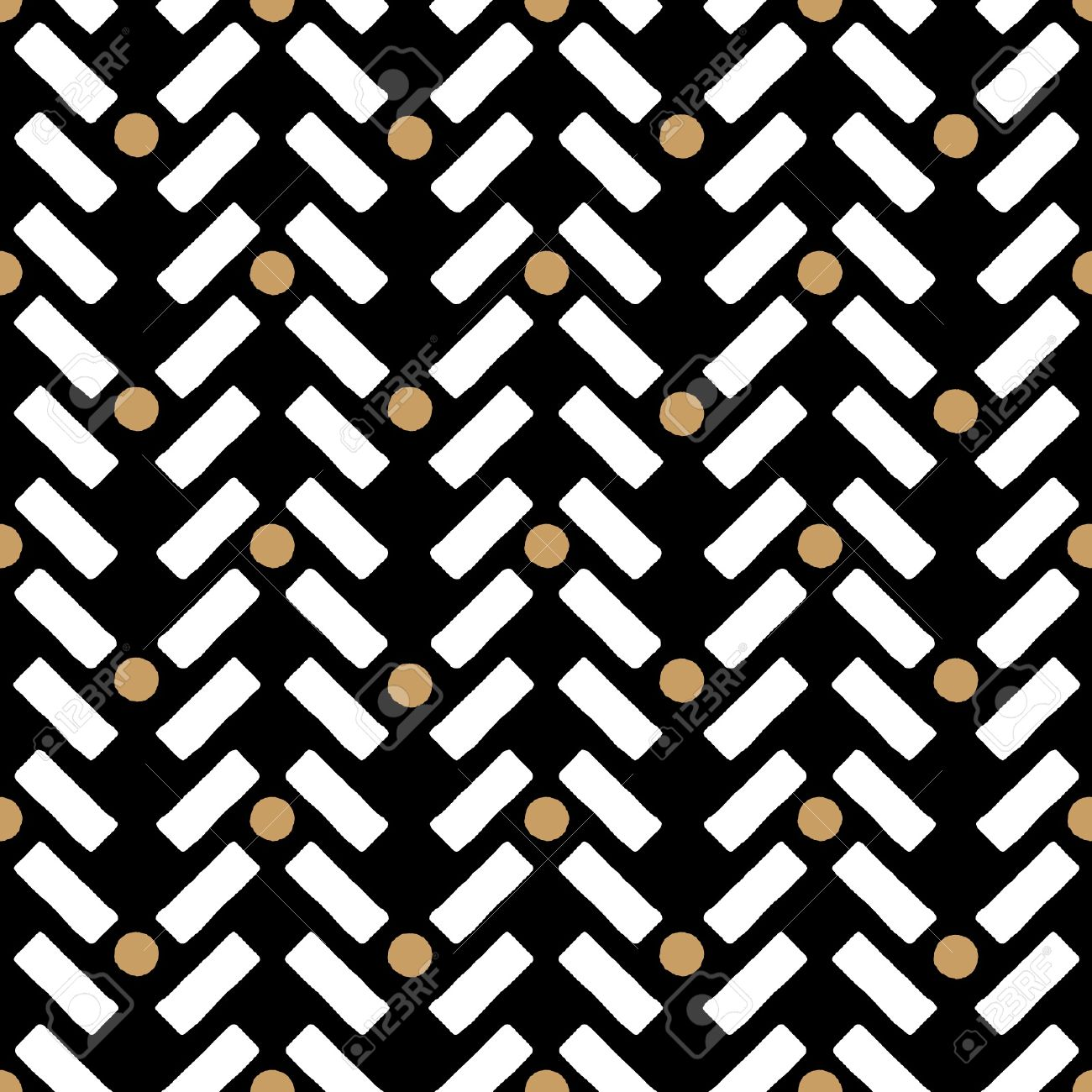 Ethnic Seamless Design Pattern Black White And Gold Customizable