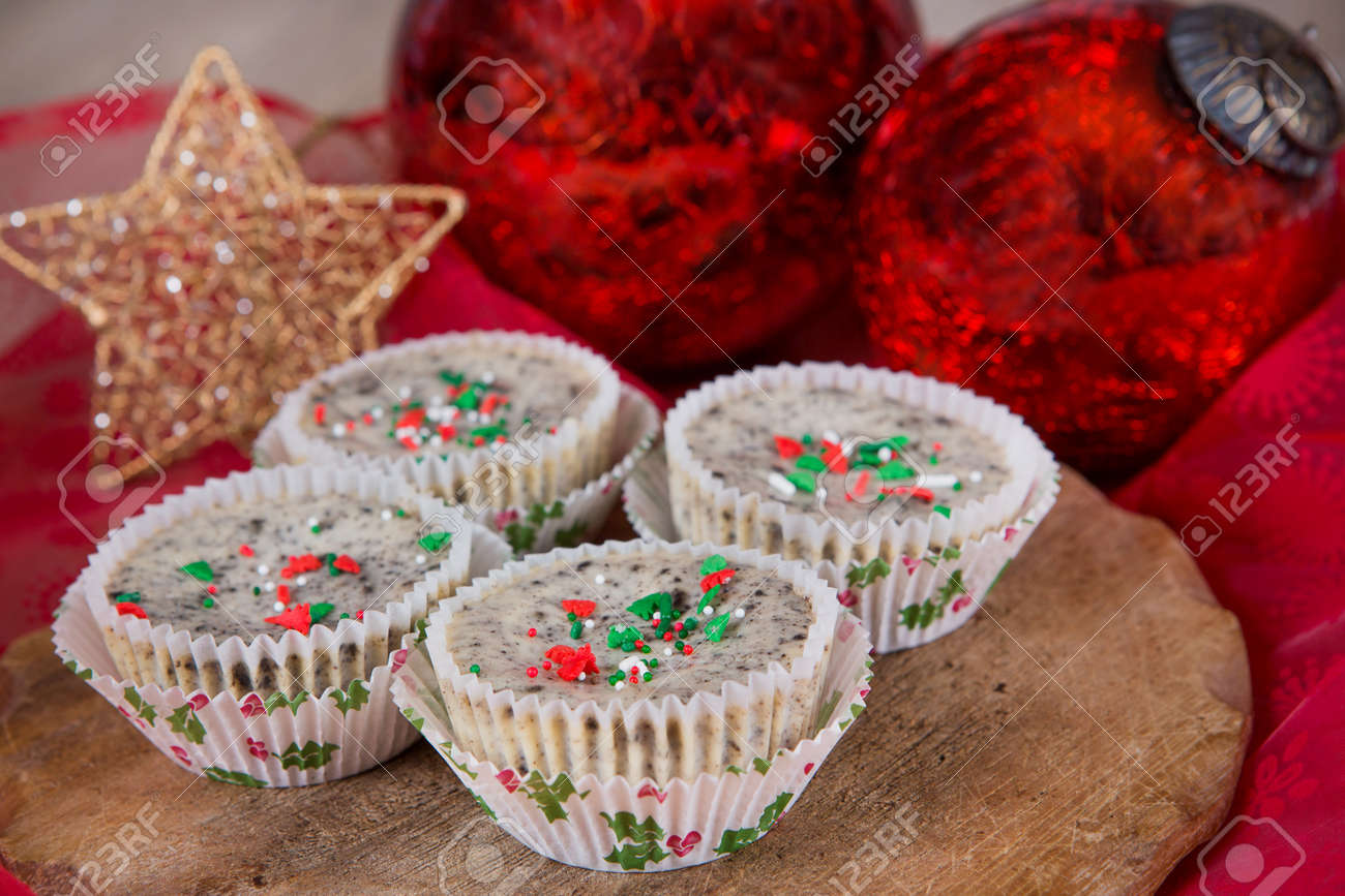 Mini Cookies And Cream Cheesecakes In Muffin Forms With Red Christmas Stock Photo Picture And Royalty Free Image Image 16853926