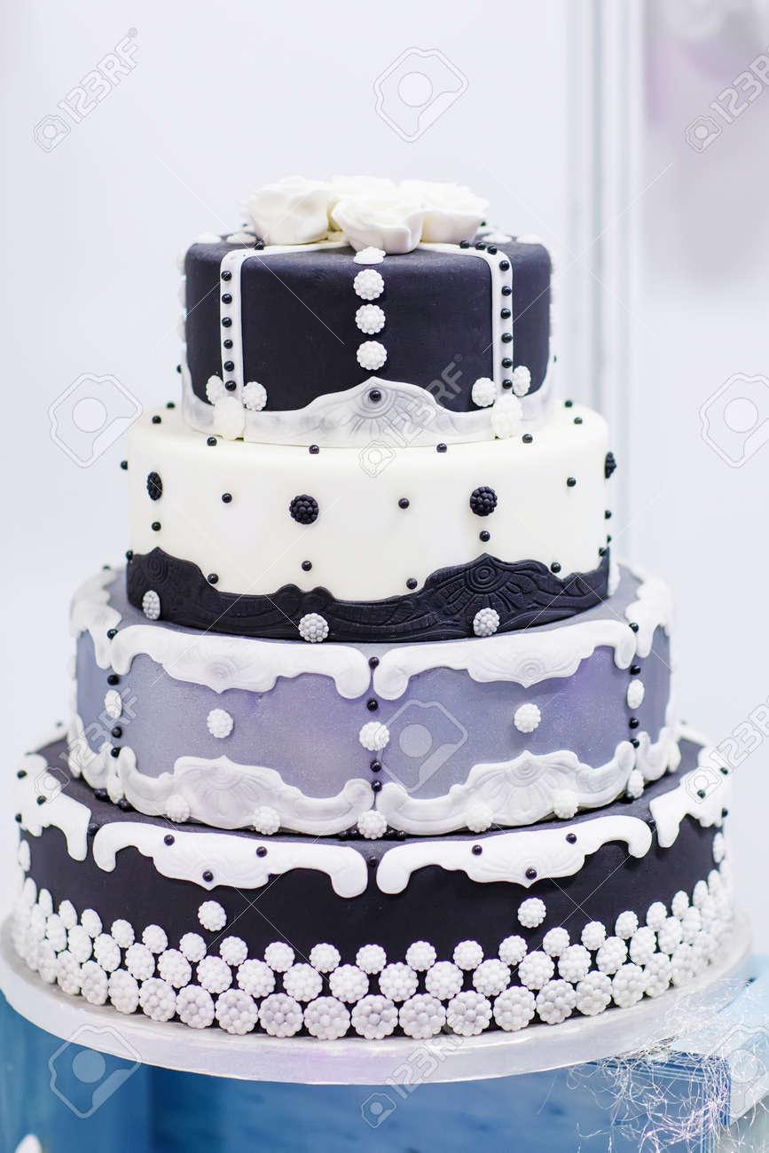 Wedding Cake In White Black And Grey Elegant And Romantic Big