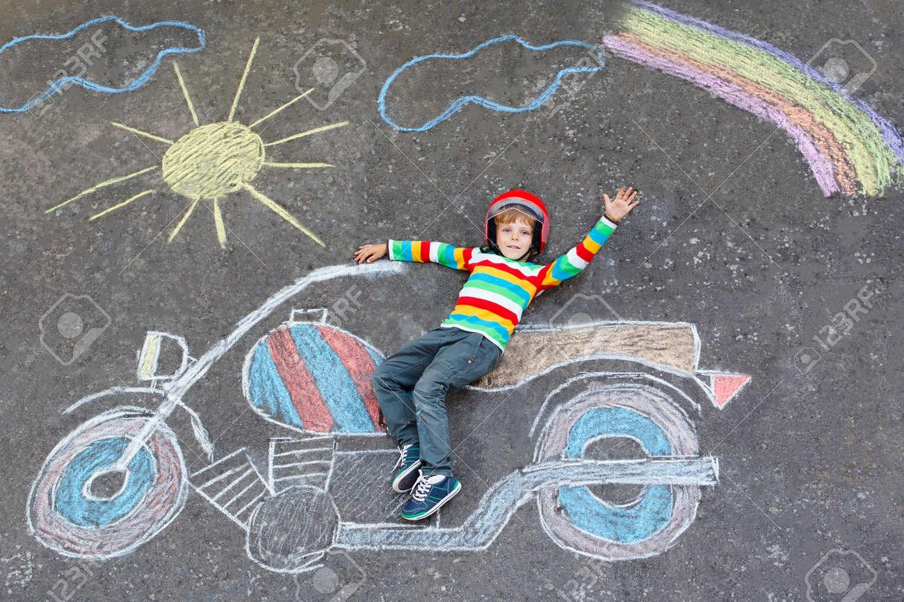 Happy Little Kid Boy In Helmet Having Fun With Motorcycle Picture ...