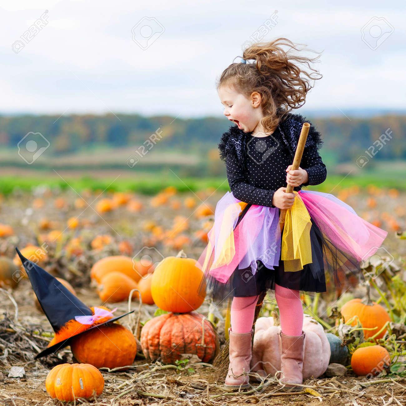 Cute little kid girl wearing halloween witch costume having fun on a pumpkin patch. Traditional & Cute Little Kid Girl Wearing Halloween Witch Costume Having Fun ...