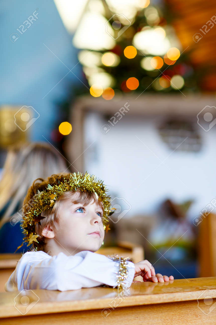 Beautiful Little Kid Boy As An Angel In Christmas Story In A.. Stock ...