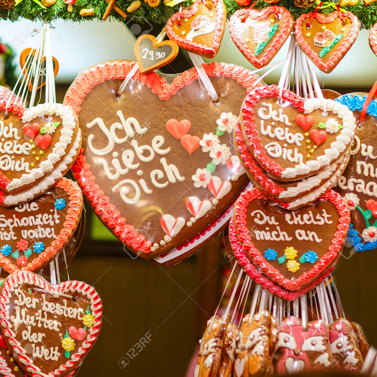 Nuremberg Christmas Market.Gingerbread Hearts At Nuremberg Christmas Market