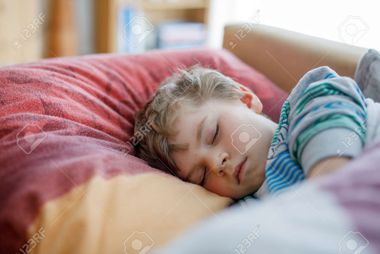 Little Sad Preschool Kid Boy Sleeping Tired Schoolchild Resting