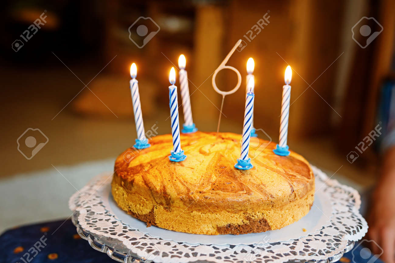 Excellent Birthday Cake With 6 Candles For Kid Child Celebrates Six Years Funny Birthday Cards Online Barepcheapnameinfo