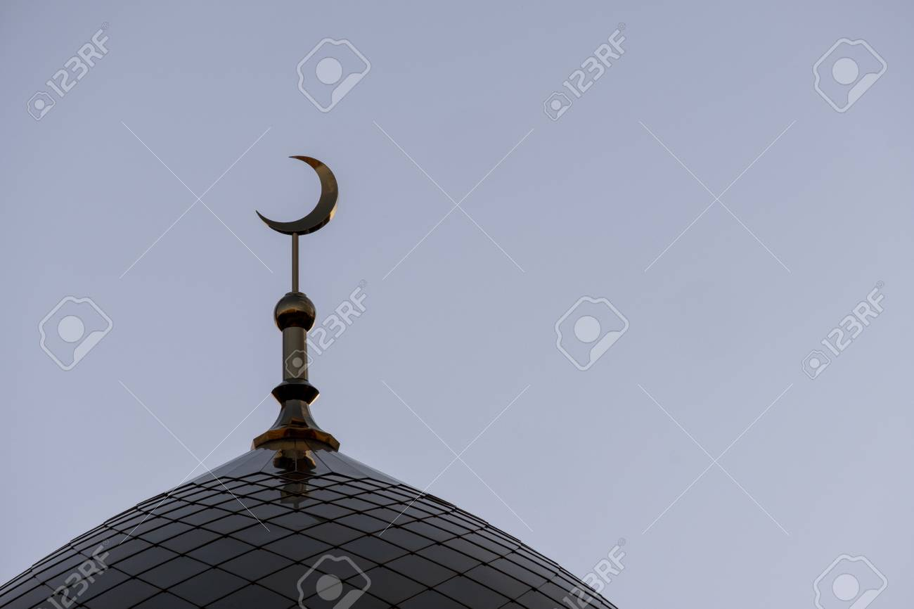 The Symbol Of Islam Is A Golden Crescent Moon The Top Of The