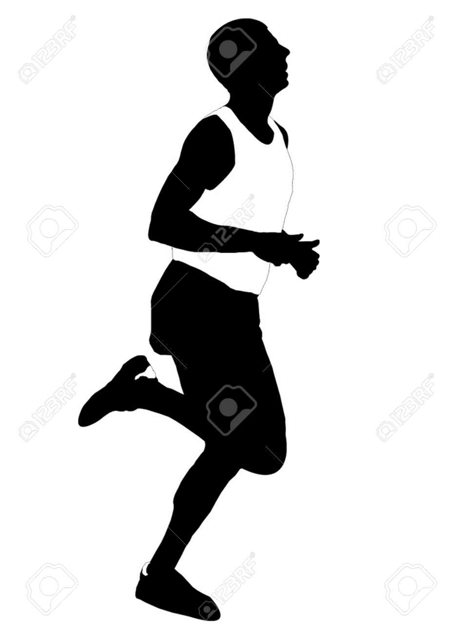 Silhouette running men Stock Vector - 3897863