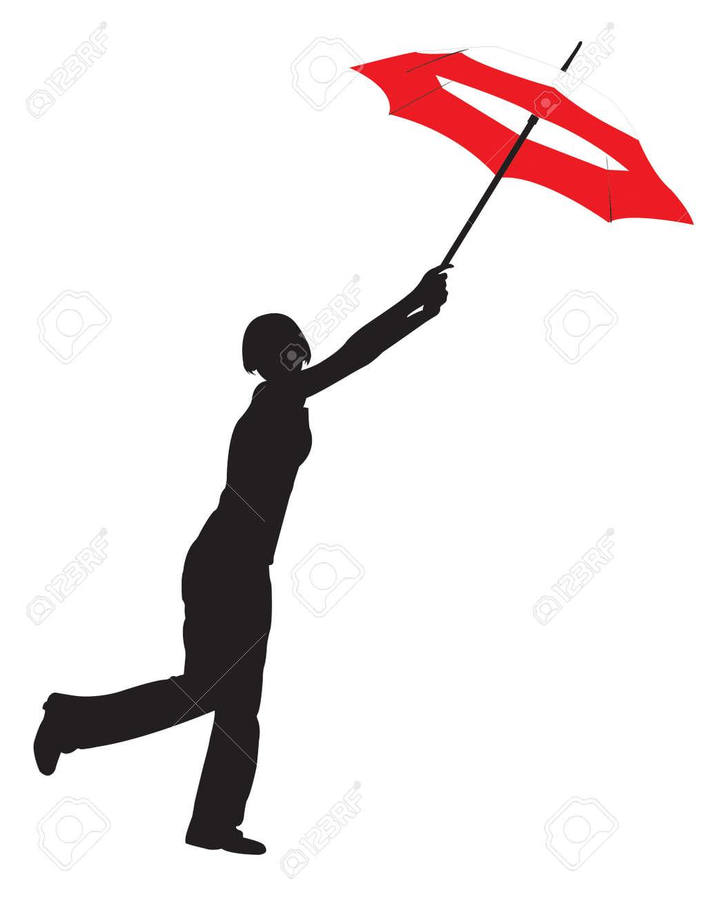 Silhouette Der Jungen Mädchen Mit Schirm Lizenzfrei Nutzbare