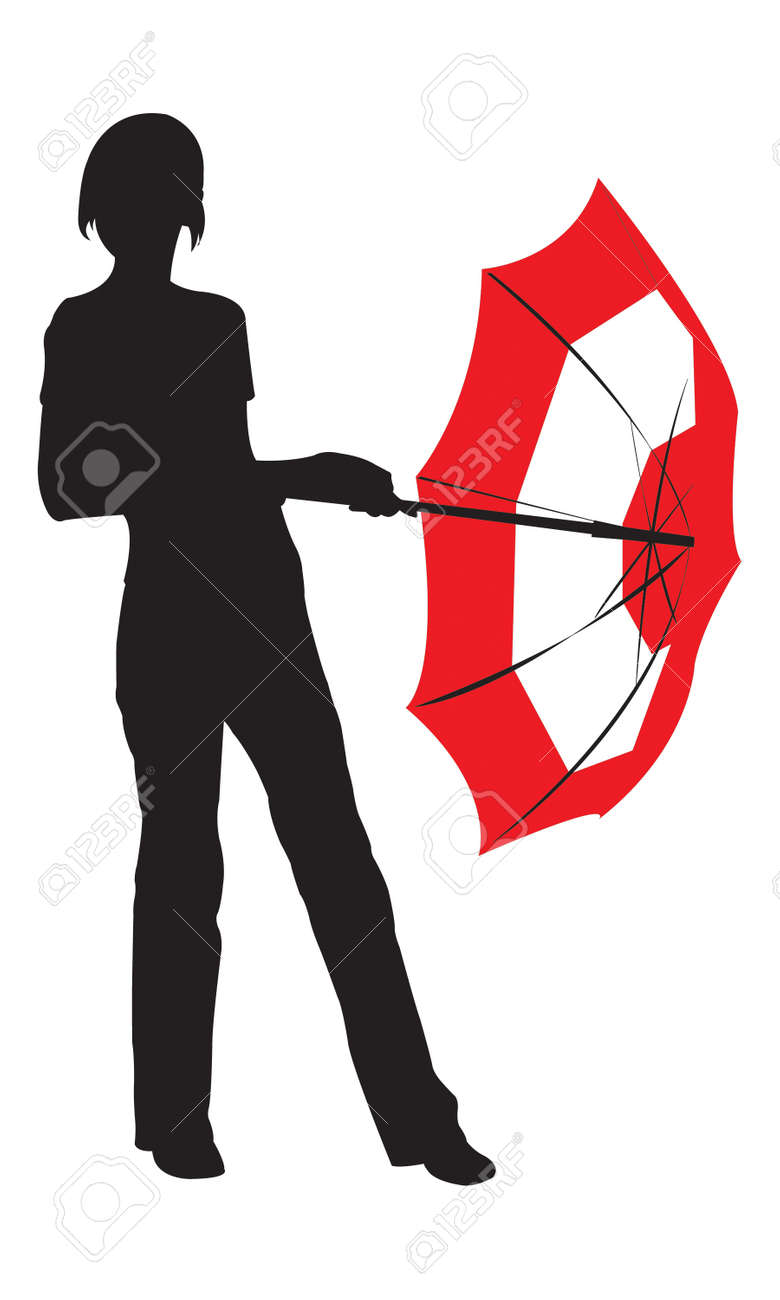 Silhouette of the young girl with umbrella Stock Vector - 4000872