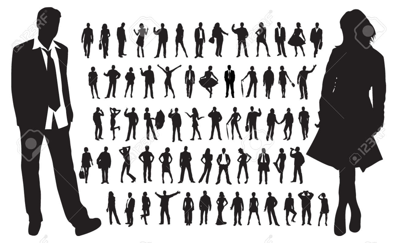 Large collection of people silhouettes Stock Vector - 4592980