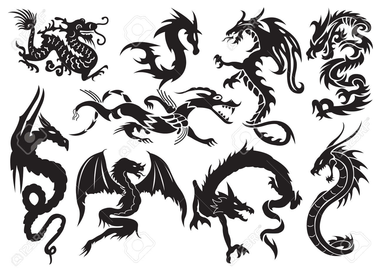 Dragons. illustration Stock Vector - 8765129