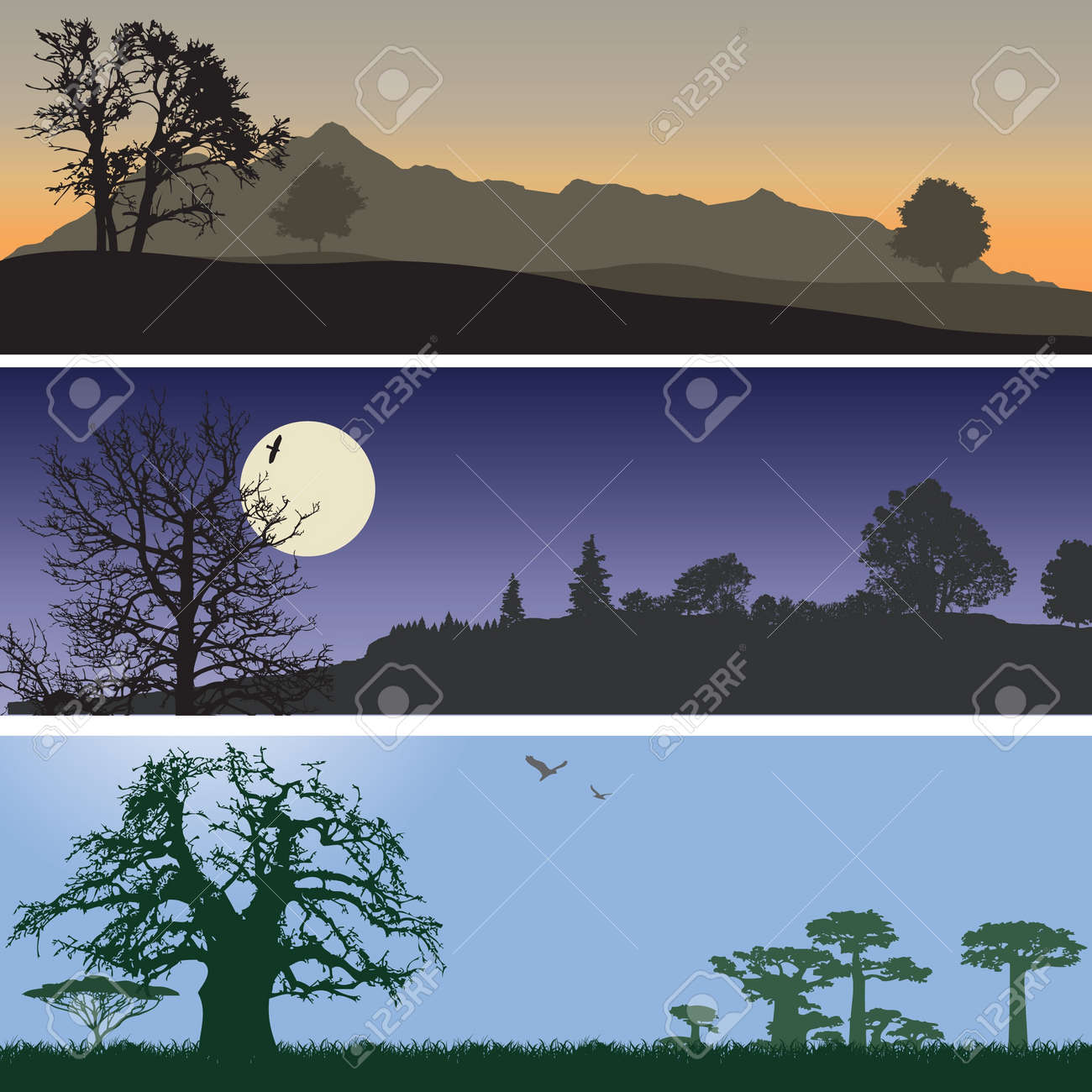Landscape banners. Stock Vector - 10901216