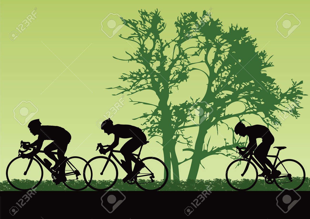 Professional cyclists. Stock Vector - 10901217