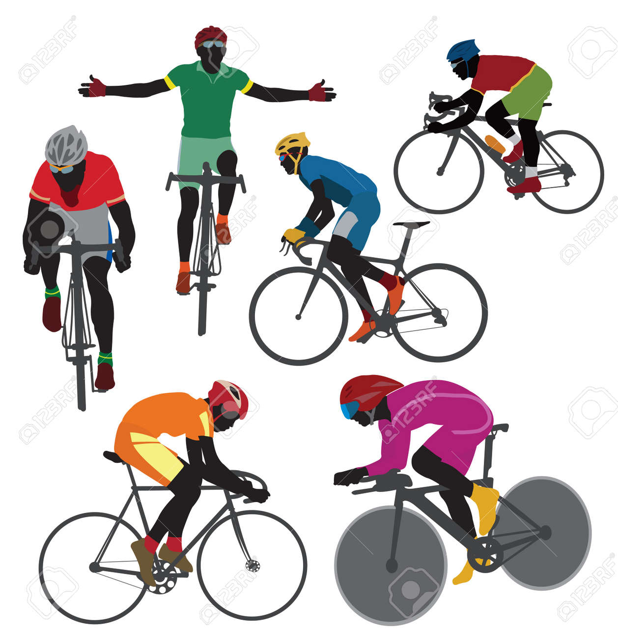 Silhouettes bicyclist. Vector - 13106994