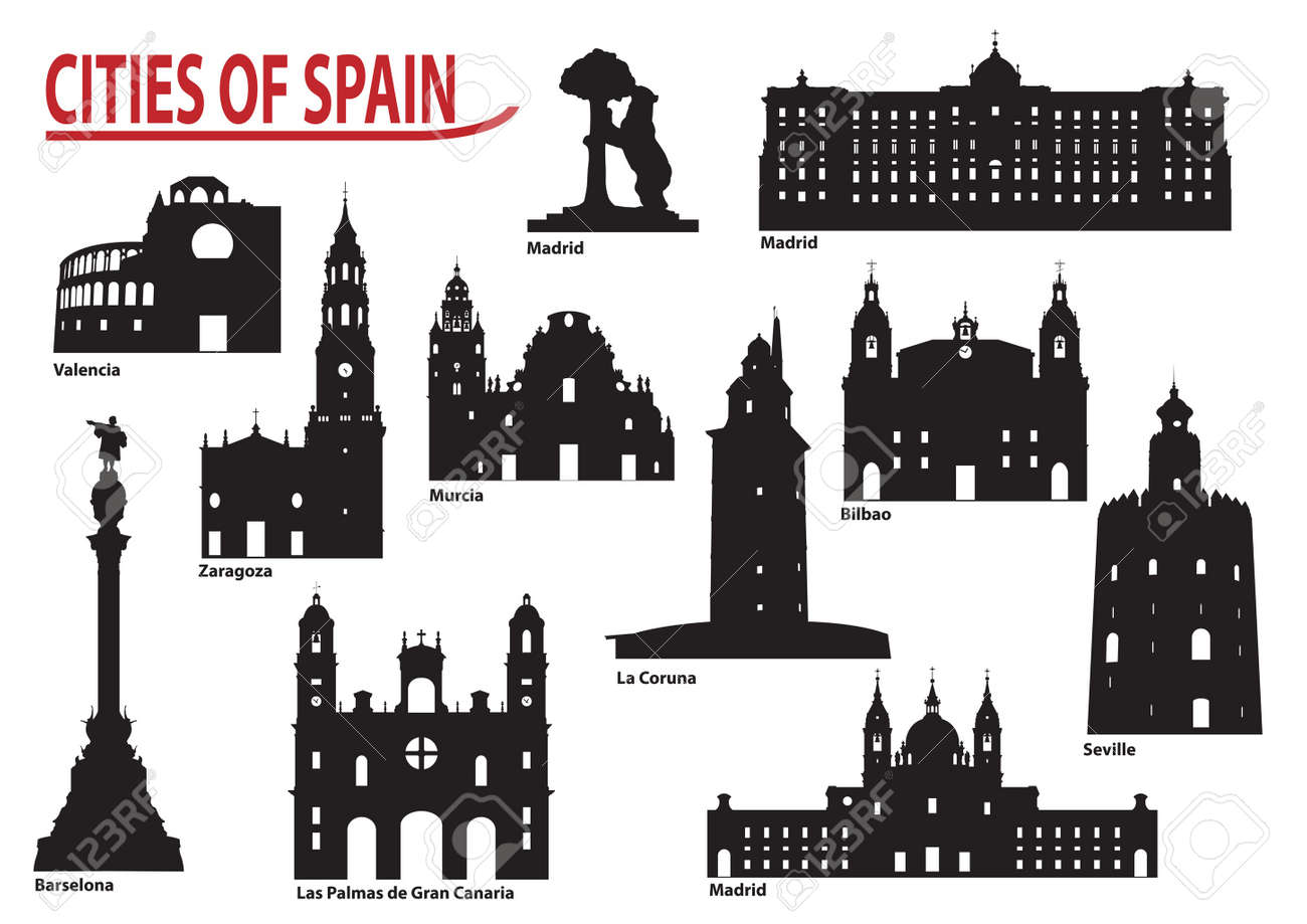the most famous building in the city of spain royalty free cliparts