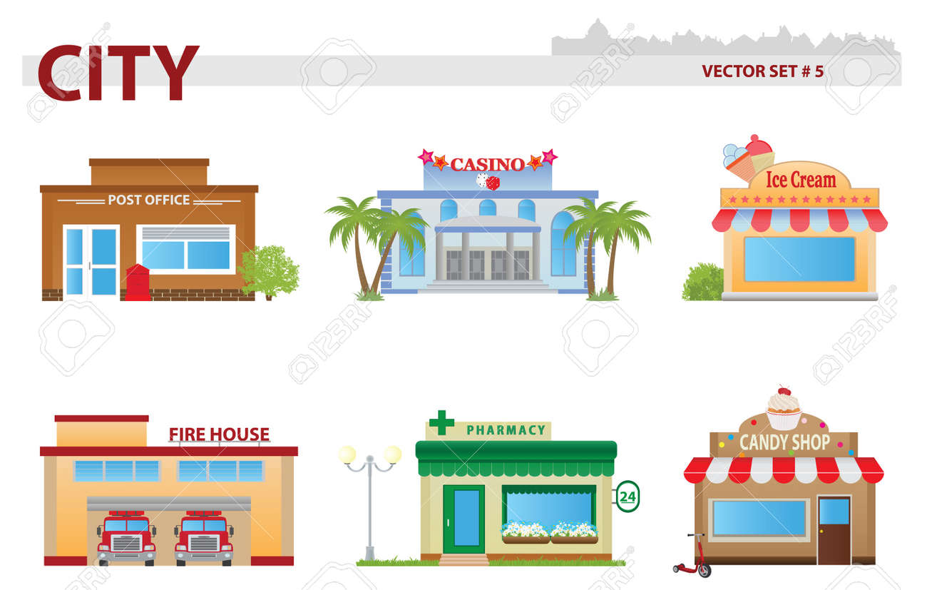 Public building cartoon. Set 5. Stock Vector - 17620151