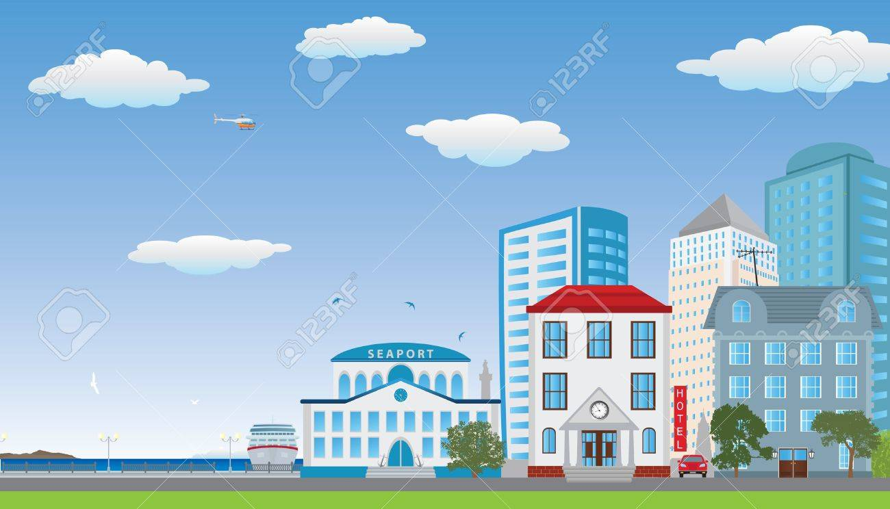 The row of houses  Street of the city illustration Stock Vector - 17740588