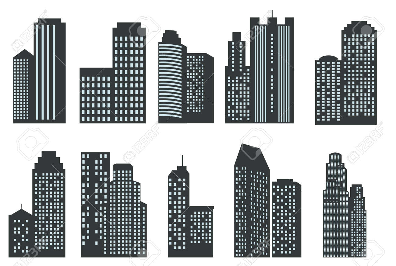 silhouettes of skyscrapers vector set royalty free cliparts vectors rh 123rf com singapore skyscraper vector skyscraper building vector