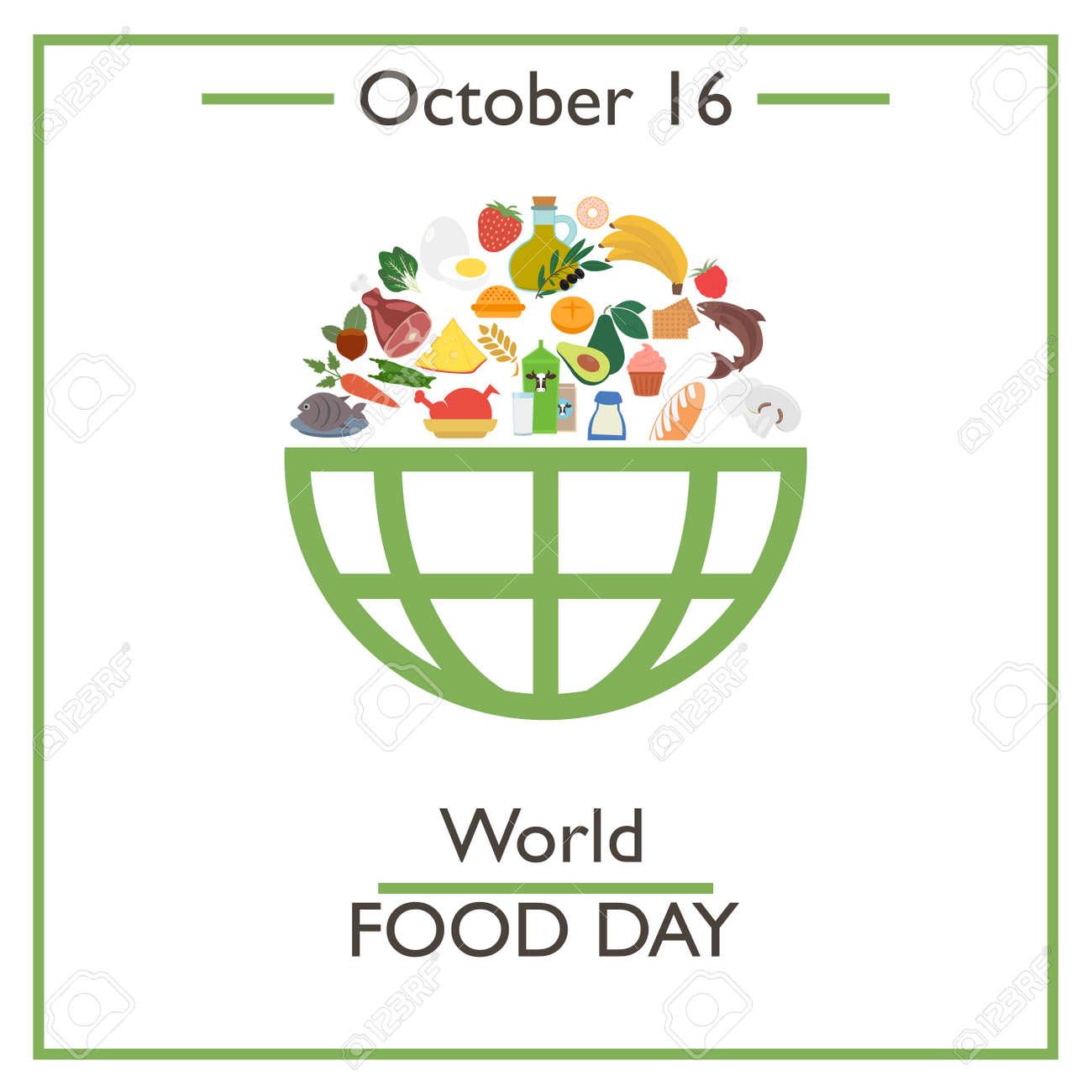 Dia Mundial De La Alimentacion 16 De Octubre Ilustracion Vectorial Para Disenar Tarjeta Bandera Cartel Y Calendario Ilustraciones Vectoriales Clip Art Vectorizado Libre De Derechos Image 64040132