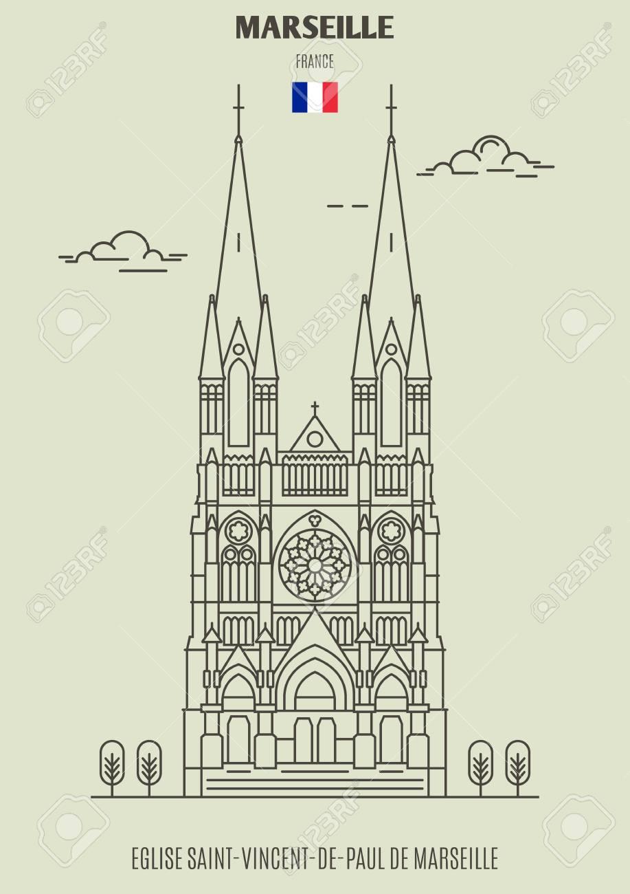 Eglise Saint-Vincent-de-Paul de Marseille, France. Landmark icon in linear style - 118974737