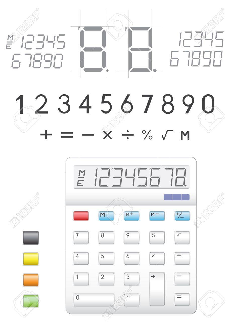 Photo license fee calculator - Electronic Calculator Digits Buttons And Symbols To It Stock Vector 6547847