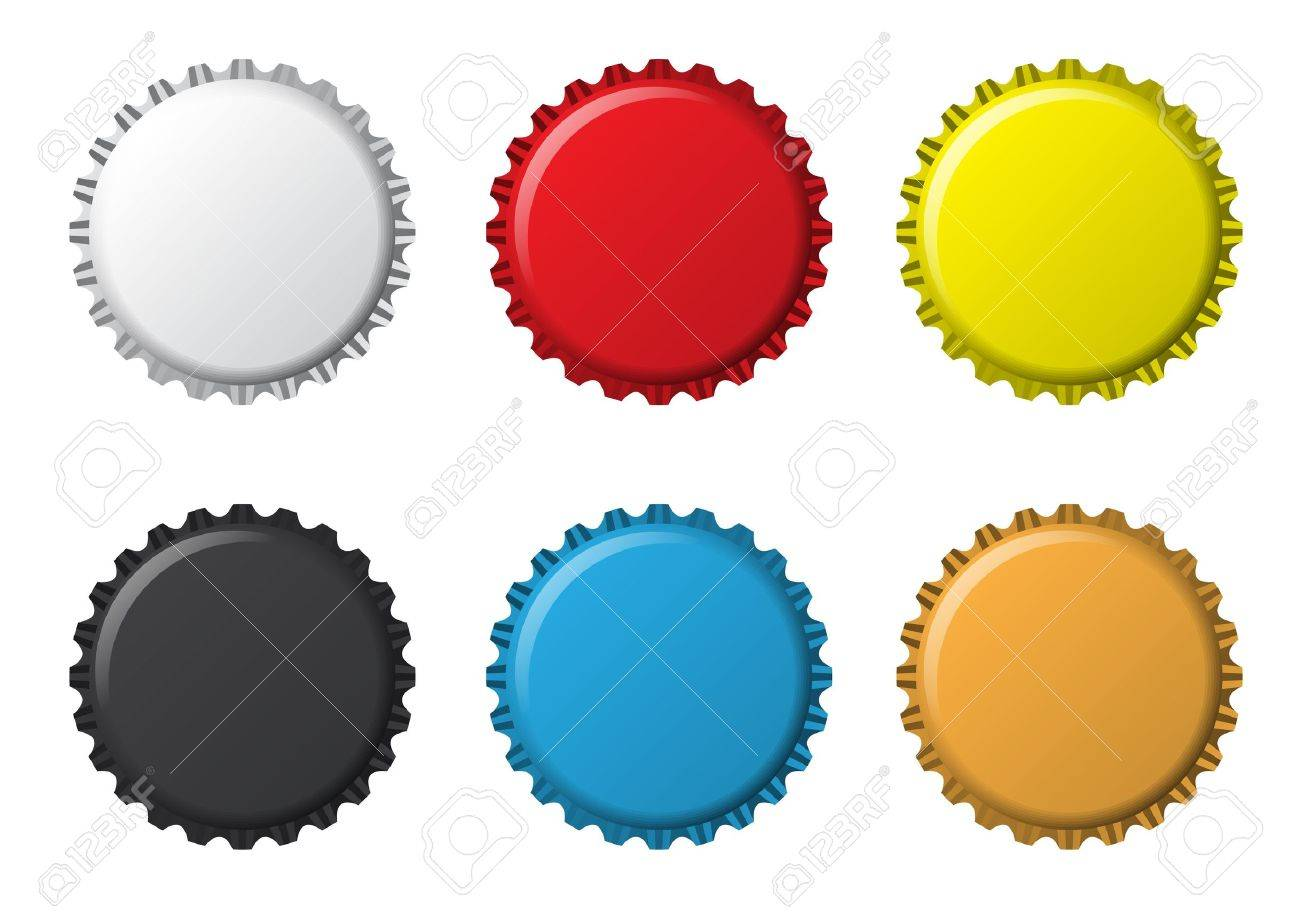 The colors bottlecaps on a white background Stock Photo - 6584012