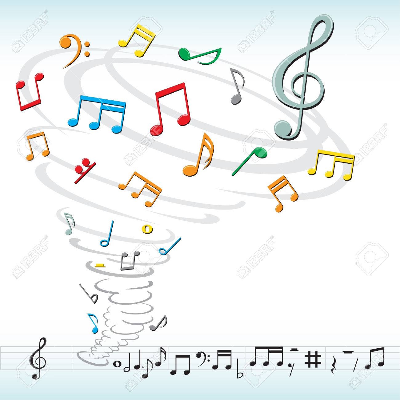tornado destroys a musical notes Stock Vector - 7608009