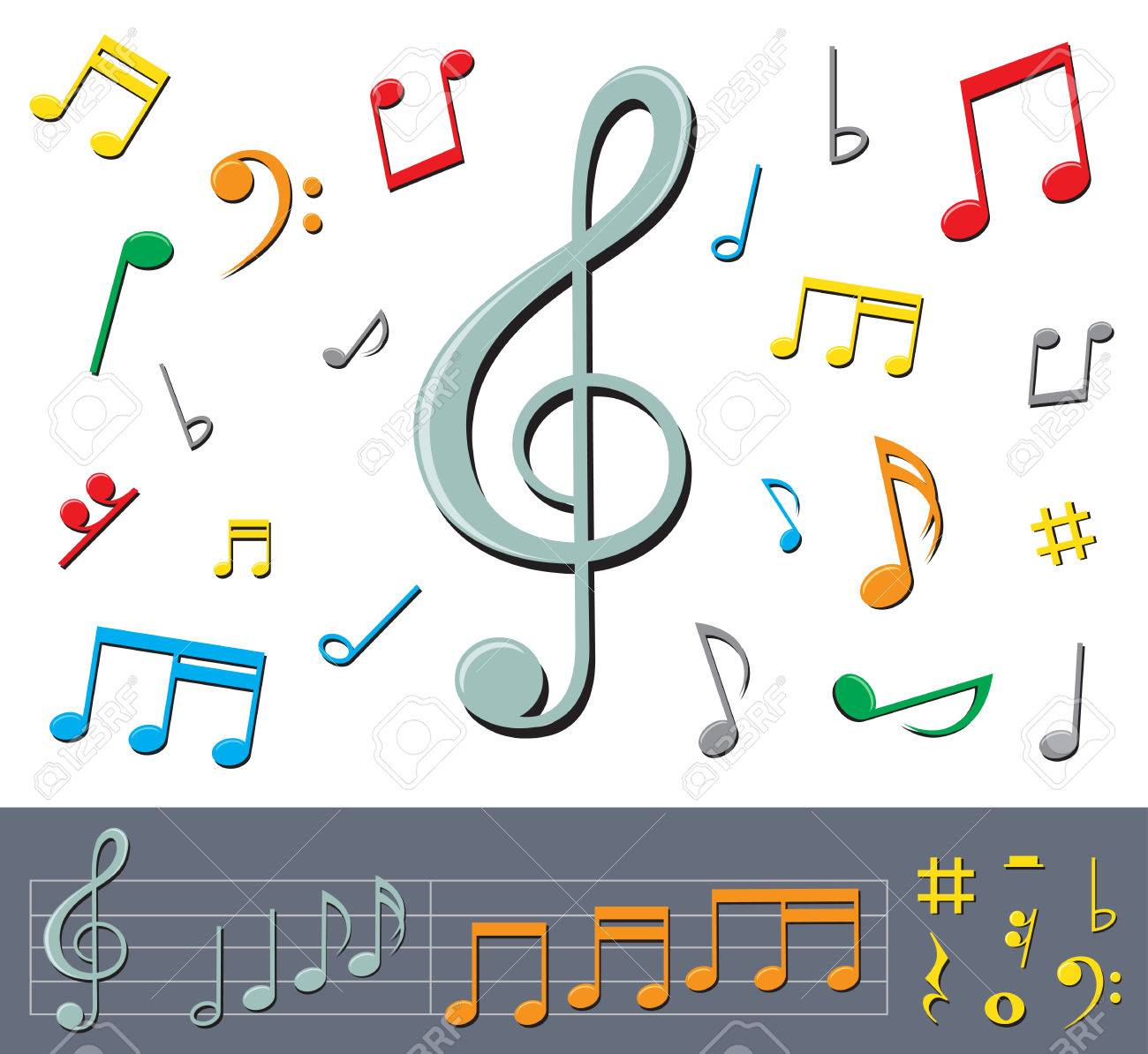 Musical notes staff background on white vector by tassel78 image - Music Notes Color Set Of Basic Color Notes And Signs With Shadows On The White