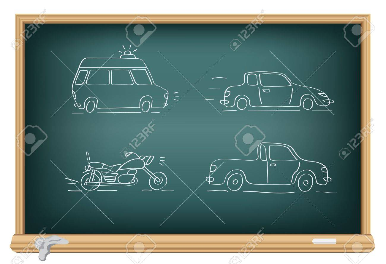 Drawing cars by a chalk on the classroom blackboard Stock Vector - 7745299