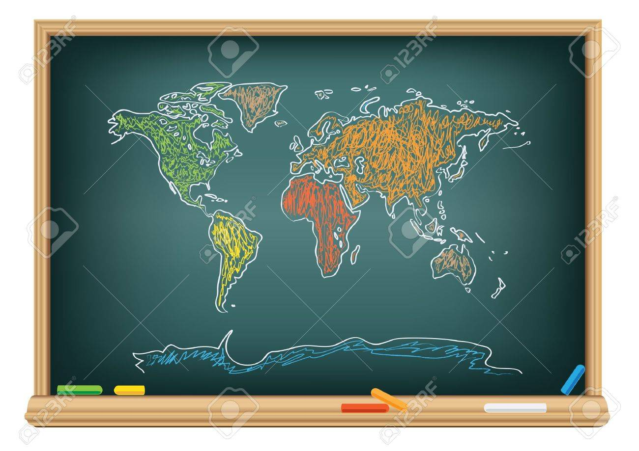 Drawing world map by a chalk on the classroom blackboard royalty drawing world map by a chalk on the classroom blackboard stock vector 7745303 gumiabroncs Image collections