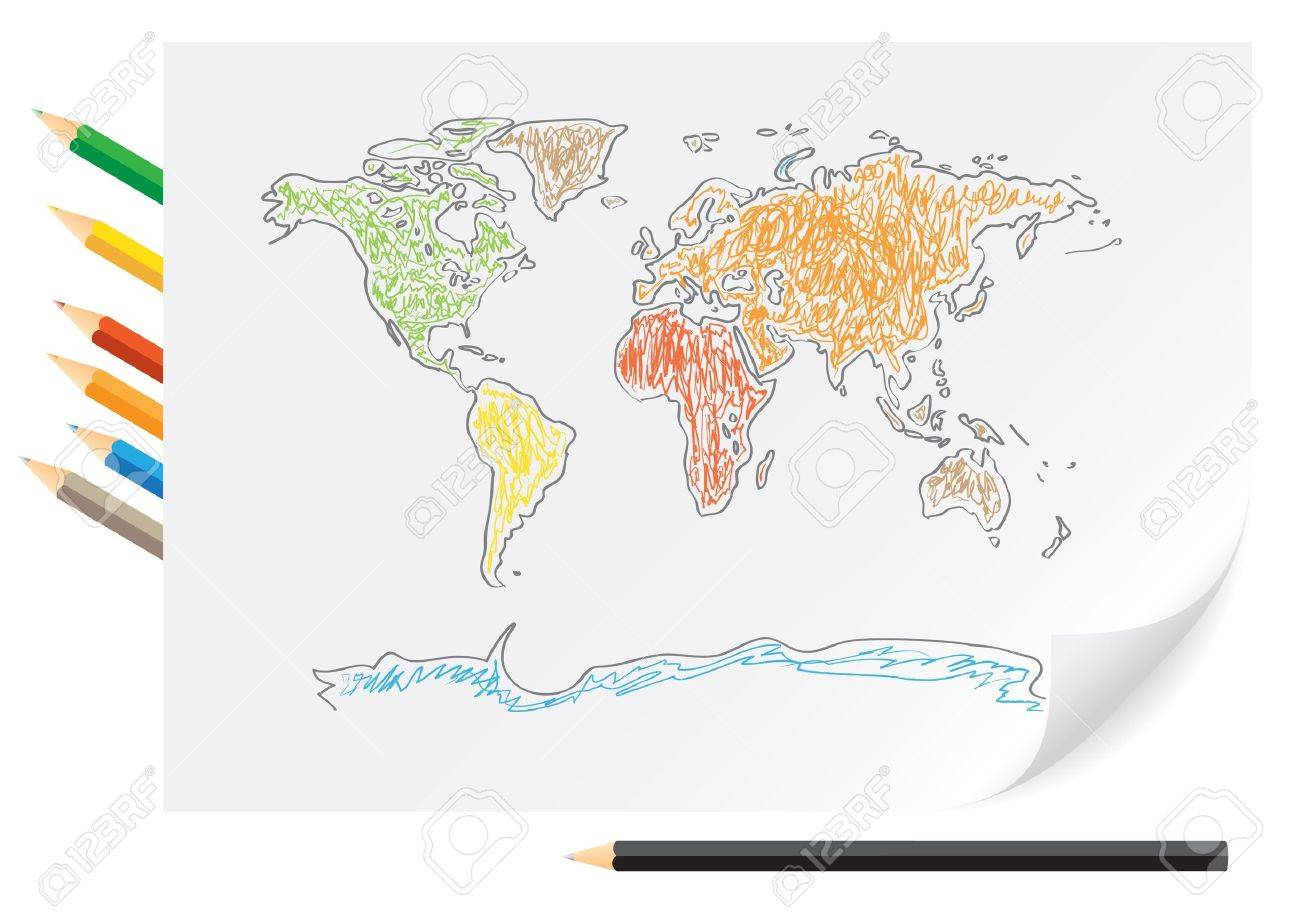 Drawing world map by a color pencils on the white paper stock vector 7745302